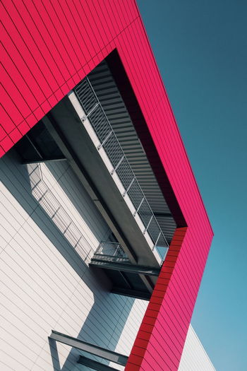 | Red, white and blue. Architecture Light Modern Modern Architecture Red Shape Blue Blue Sky Clean Geometric Shape Minimal Minimalism Red Color Shadow White