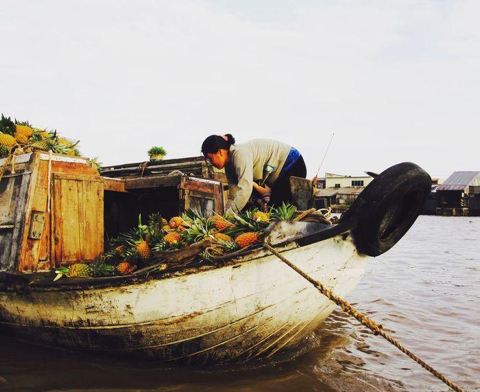 Pineapple Boat Showcase: February Mekong River Mekong Delta Vietnam Fruit Pineapple River Market Rivermarket