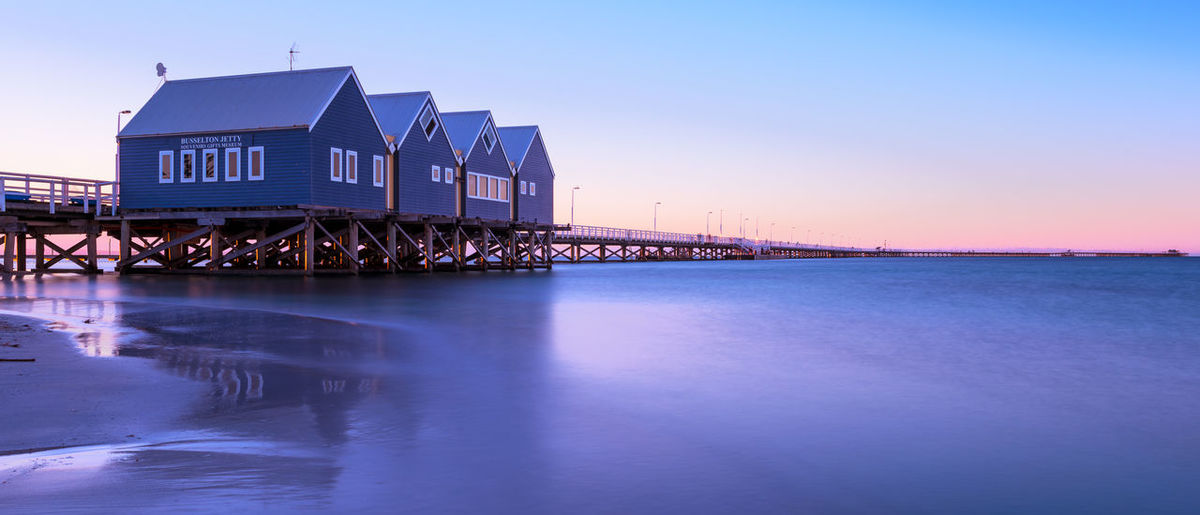 Busselton jetty at sunset Built Structure Architecture Water Sky Sea Building Exterior Blue Clear Sky Sunset Travel Destinations Dusk No People Reflection Waterfront Outdoors Tranquility Bay Jetty Long Exposure Busselton Australia Colorful Building