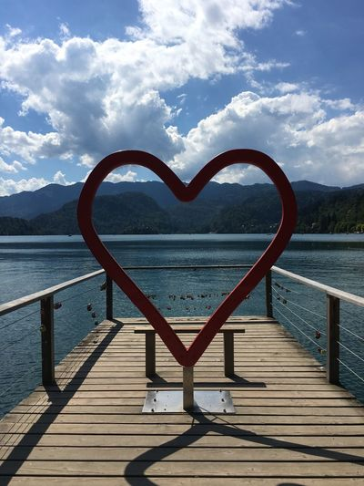 Bench Bled Bled, Slovenia Blejsko Jezero Clouds And Sky Lake Lake Bled Love Love ♥ Mountain Range Outdoors Shadows Sky Slovenia Tourism Tourist Attraction  Tranquil Scene Tranquility Travel Travel Destinations Water The Magic Mission TakeoverContrast Art Is Everywhere