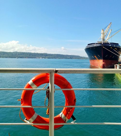 Sea Nautical Vessel Water Life Belt Beach Sky Protection No People Outdoors Buoy Ship Horizon Over Water Blue Boat Deck Nature Travel Photography Beauty In Nature Adventuretime Travel Destinations Tranquil Scene Itsmorefuninthephilippines