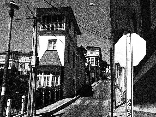 ascensor a Cerro Alegre Architecture Barroco Austral Blackandwhite Photography Building Building Exterior Built Structure City Day House Residential Structure Sky Street Street Light The Way Forward
