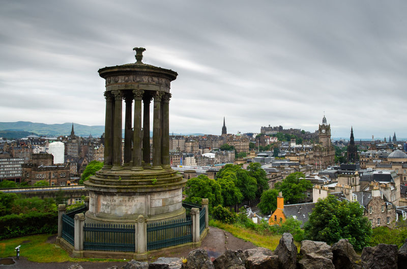 The skyline of the city of edinburgh the capital of scotland from the calton hill.
