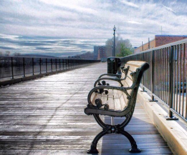 Sky Cloud - Sky Railing Outdoors Day No People Wood Paneling Bench Boardwalk Sonya300