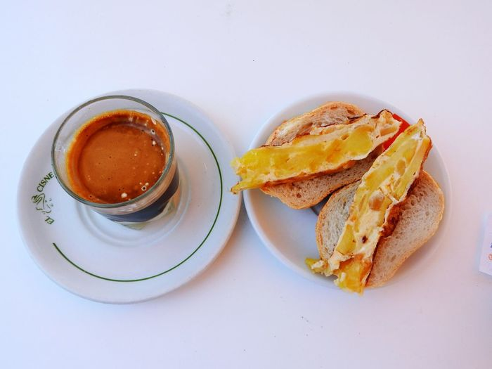 Never Too Early ~ Food Stories EyeEm Selects Food And Drink Coffee - Drink Food High Angle View Table Freshness Refreshment No People Close-up Ready-to-eat Outdoors Coffee Bonbon Apple Pie Breakfast Mediterranean  SPAIN Villajoyosa Summertime Drink