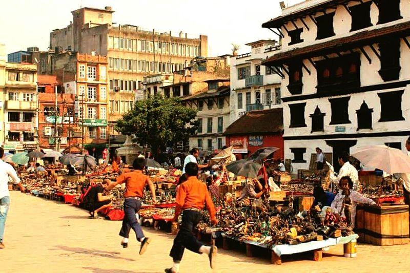 Built Structure Outdoors People Sky Adult Day Kathmandu Nepal Nepal Children Playing Playful Children