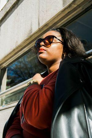 Golden Hour Light Outdoors Lisbon Young Women Portrait Beautiful Woman Warm Clothing Women Window Sunglasses Close-up Leather Jacket Posing