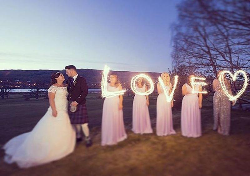 Love❤ Weddingphotographer Marrhall Sparklers Weddingscotland Longexposure Bridesmaids Bride Kilt groom Johncampbellclark