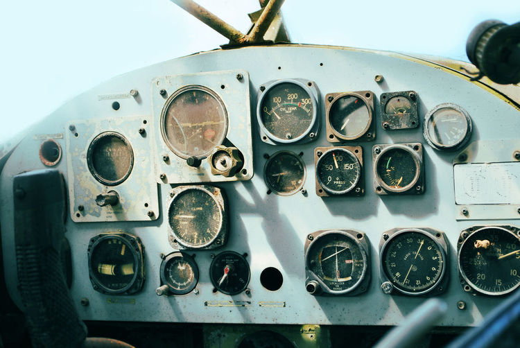 Aerospace Industry Air Vehicle Airplane Close-up Cockpit Control Panel Dashboard Day Fighter Plane Gauge Mode Of Transport No People Outdoors Sky Speedometer Technology Transportation