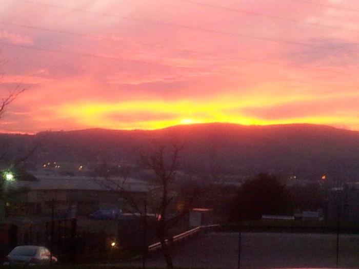 Sun setting over Darwen Lancashire