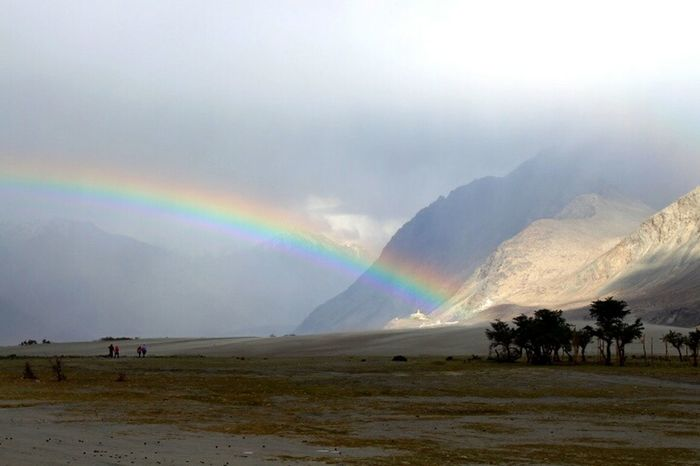 Trips Around The World Rainbow Colors Rainbow Indian Style Original Experiences Travel Photography Mountains In Background Ladakh Feel The Journey Hunder June 2016 Jammu And Kashmir Ladakh_lovers Incredible India Desert Localscene Beauty In Nature Check This Out Beautifully Organized India