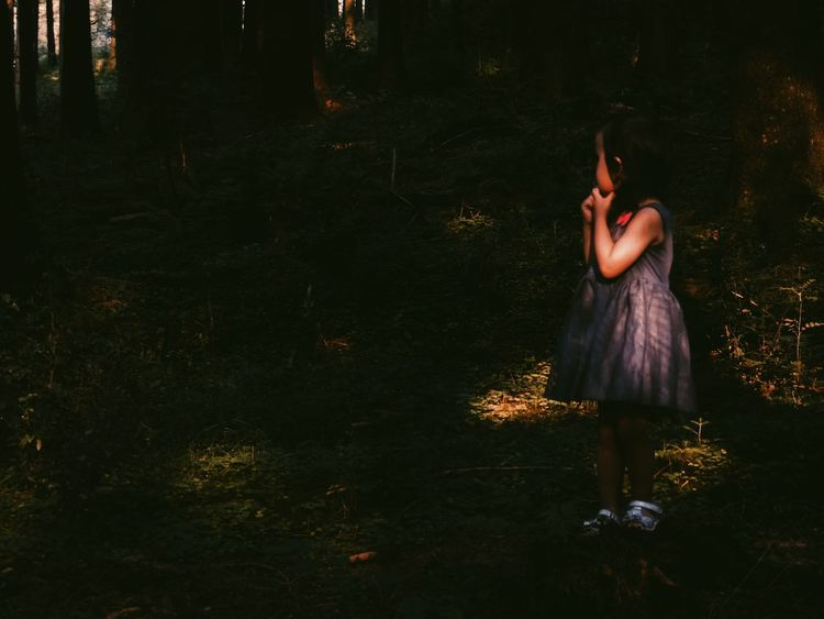 """""""Should I go deeper into the woods or should I turn back?"""" 👻😨😶 Little Girl Light And Shadow Darkness And Light Portrait EyeEm Best Shots - People + Portrait Storytelling Scared Alone In The Dark Untold Stories Learn & Shoot: Single Light Source Feel The Journey People And Places"""