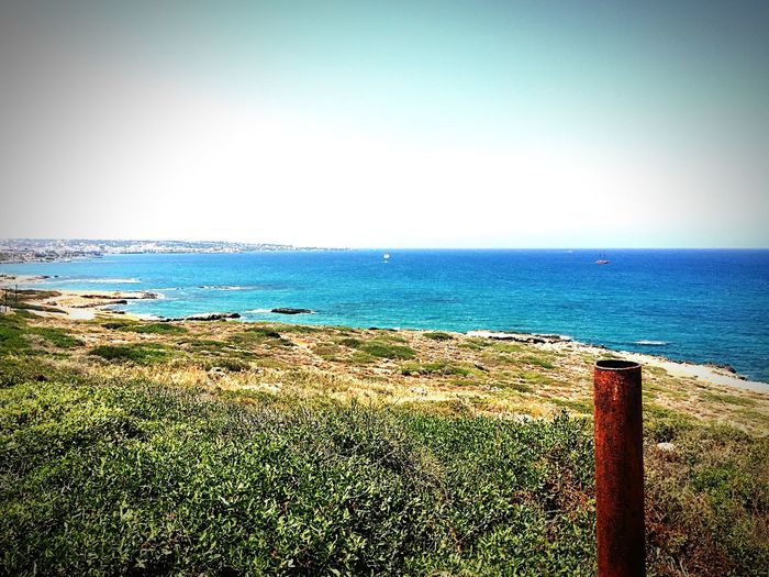 Beautiful View Driving Coast Sea Side Rusty Pipe Looking Over Kreta Chersonissos