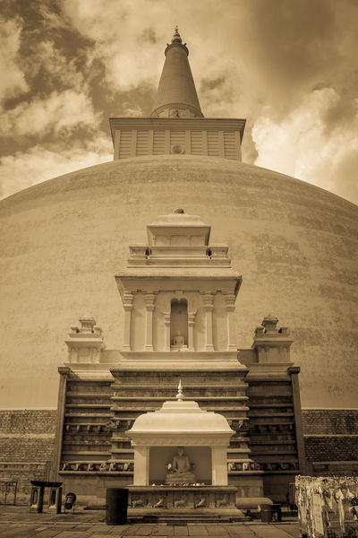 Architecture Buddha Buddha Statue Building Exterior Built Structure Cloud - Sky Day No People Outdoors Place Of Worship Place Of Worship Religion Ruwanwelisaya Sculpture Sepia Sepia_collection Sky Spirituality Sri Lanka Statue Stupa Temple