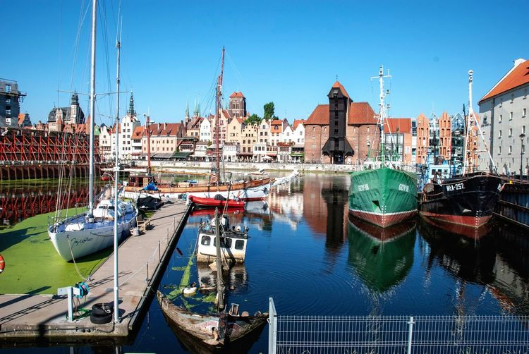 Boat Cityscape Architecture Hanseatic League Hanseatic Gdansk Poland Danzig Motława Water Building Exterior Architecture Built Structure Sky Nautical Vessel Nature City Moored No People Harbor River Sailboat Clear Sky Blue