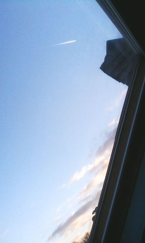 In plane sight... Sky Low Angle View Window Cloud - Sky Day Plane Trail Vapour Trail No People