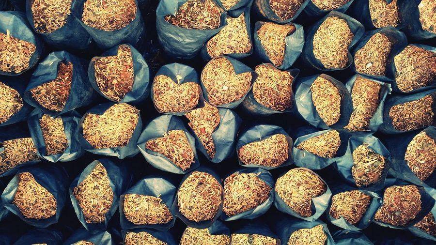 Full frame shot of food in plastic bags