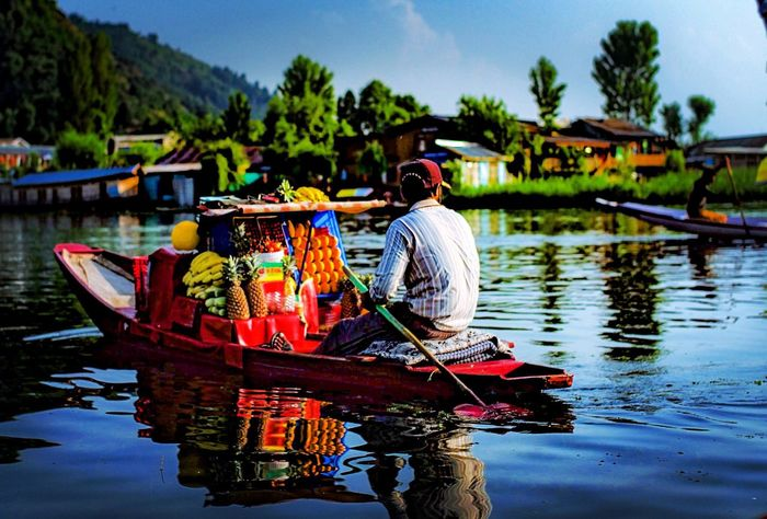 People And Places Water Transportation Boat Reflection Waterfront Selective Focus Casual Clothing Tree Nautical Vessel Lake River Sky Day Outdoors Canal leica Kashmir India people and places