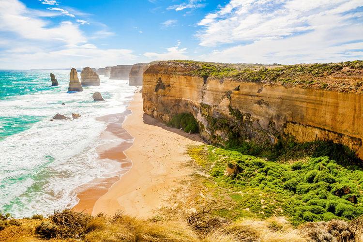 Scenic view of twelve apostles sea rocks