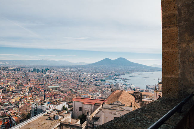 View of Naples from Sant'elmo Castle Architecture Bay Of Naples, Italy. Building Exterior Built Structure City Cityscape Crowded Day Mountain Naples Napoli Nature Outdoors Roof Sky Tiled Roof  Vesuvio