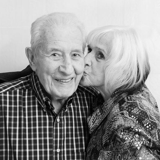 Julius and Mary jump in the Photobooth Love Affectionate Frisky oldfolks