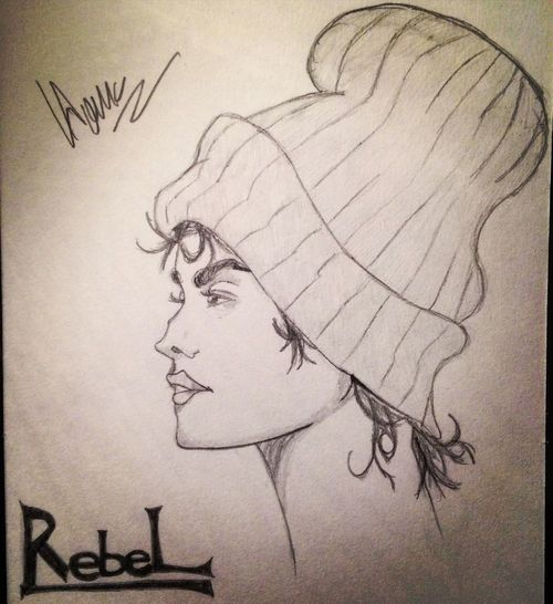 Drawing - Art Product Text Paper Drawing Close-up Day Blackandwhite Black & White Rebel Girl Streetgirl Street Hat Pencil Pencil Drawing Pencil Sketch