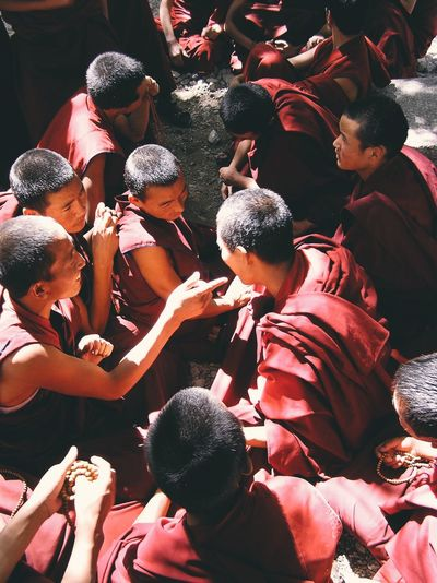 High Angle View Of Teenage Monks