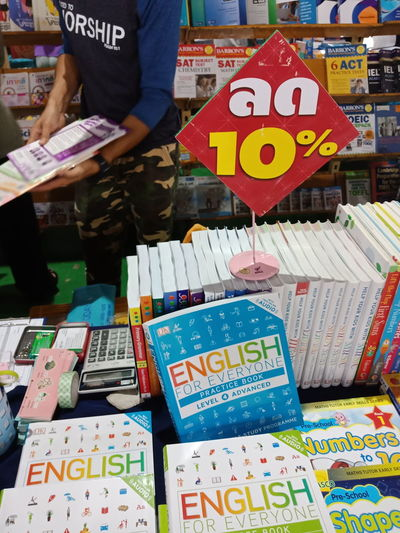 10% discount in Thai Books Thailand City Price Tag Market Text For Sale Multi Colored