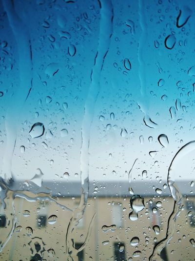 Rainfall Drop Water Transparent Window Weather RainDrop Drop Wet Water Transparent Window Rain Glass - Material Indoors  RainDrop Weather Season  Close-up Full Frame Sky Blue No People Freshness