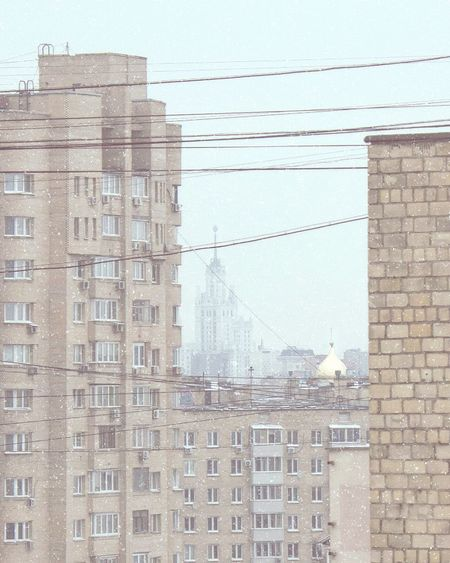 Snow view from the window Building Exterior Built Structure Architecture City Window Day Outdoors No People Residential Building Sky Moscow Russia Modern Soviet Architecture Soviet Era Soviet Union