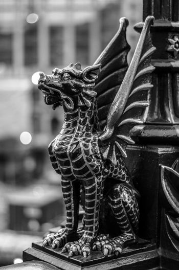 Architectural Column Architectural Feature Art Art And Craft Creativity Dragon Fictional Character Focus On Foreground History Holborn Viaduct London Man Made Object Outdoors Sculpture Statue Tourism