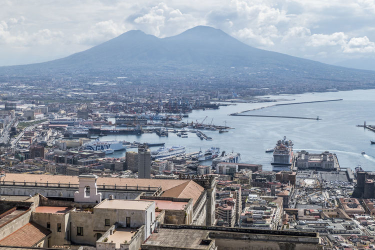 Aerial view of the gulf of naples