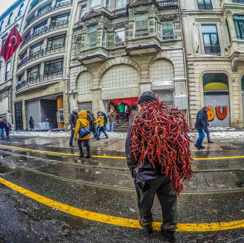 -- The Man With Chili Peppers -- Baby It's Cold Outside Built Structure Capsicum Chilli Chilli Pepper EyeEmNewHere From Where I Stand HDR Street Photography HDR Streetphotography Istanbul Winter Wheather People Watching Punchy Colors Real People Red Hot Chili Peppers Salesman Street Business Street Photography Streets Of Istanbul Taksim Square Travel Destinations Travel The World Turkey Turkeyphotooftheday Türkiye Winter Day