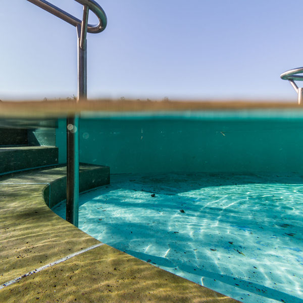 Beauty In Nature Blue Clear Sky Day Half Kneipp Kneippanlage Metal Nature No People Outdoors Pool Poolphotography Reflections In The Water Reling Scenics Sea Sky Stairs Steps And Staircase Stone Underwater Water Waterline