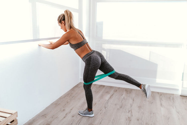 Elastic Band Exercising Woman Bum Fit Fitness Fitness Training Gym Sport Sweat Workout