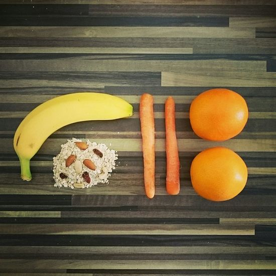 Food Banana Oatmeal Nuts Carrots Oranges