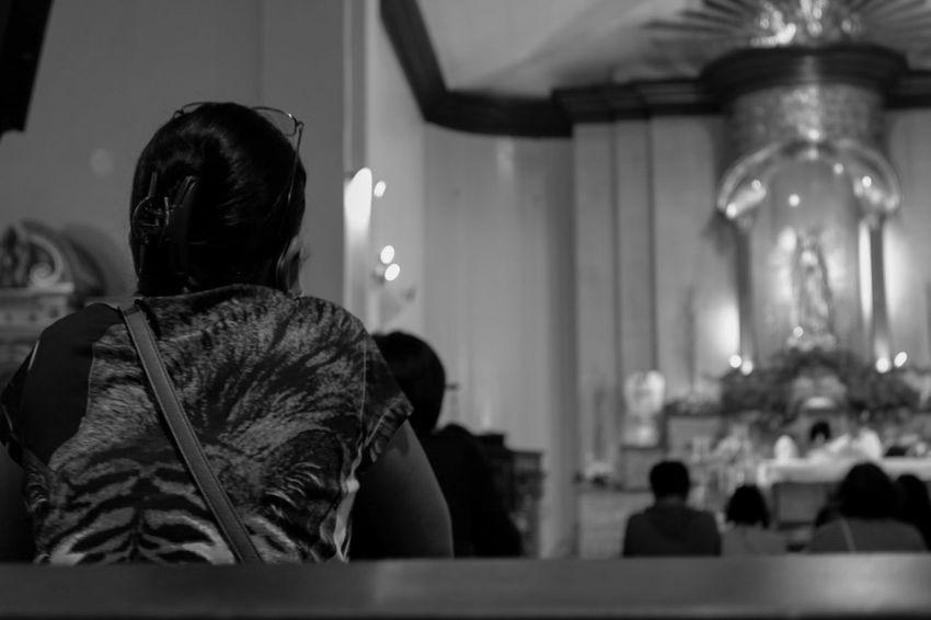Day 3 of 365 ⛪ Church Bnw EyeEm Best Shots EyeEm Gallery Fujifilm Sooc Praying Randompeople Randomshot Random Indoors  People One Person Adult Adults Only Sitting Real People Only Women Full Length