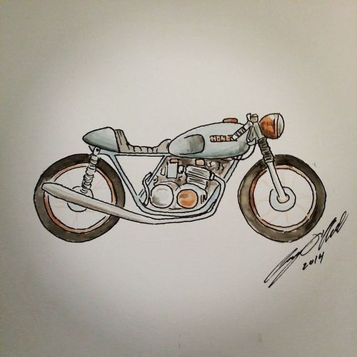 Brass Cafe Racer Honda CB550 Illustration Watercolor @jbprusa @kottmotorcycles motorcycle croig caferacer caferacersofinstagram brass inspiration aesthetics design art