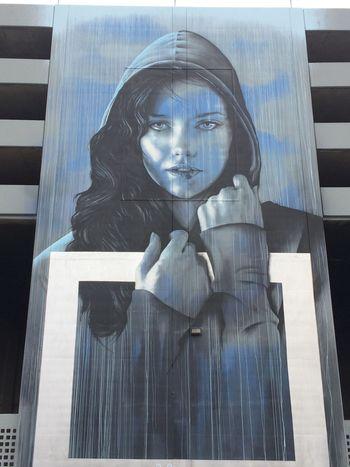Street Art Urban Art Parking Structure Art Blue Sad ArtWork Artistic
