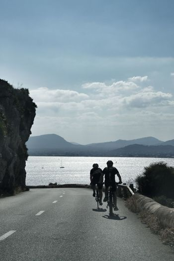 Cap Formentor Holiday Mallorca SPAIN Bay Beauty In Nature Bicycle Cycling Day Full Length Leisure Activity Mountain Nature Outdoors Real People Road Scenics Sea Sea And Sky Sky Sport Togetherness Water