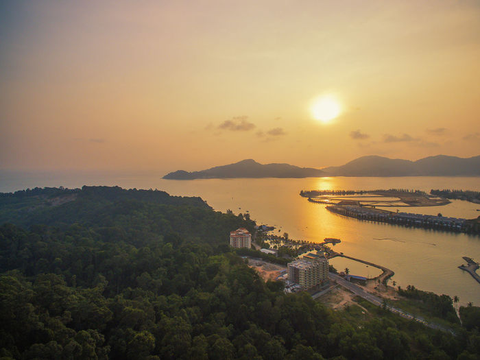 Sunset View near Marina Islands Nature Perak Forest Malaysia Truly Asia Lonelyplanet Malaysia Sea And Sky Sea Golden Hour Tree Water Sea Sunset Beach Summer Multi Colored Hill Beauty Sky
