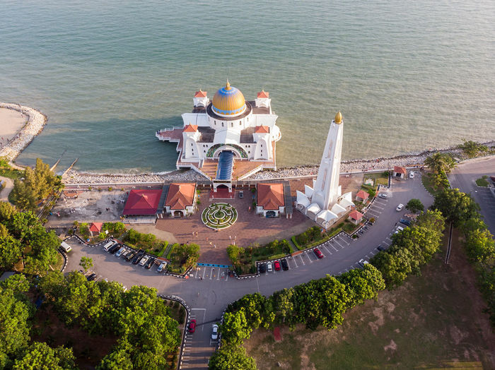 Melaka Straits Mosque, Malaysia. High Angle View Architecture Building Exterior City Built Structure Nature Water Day Outdoors Melaka Malacca Malaysia ASIA Mosque Melaka Straits Mosque Drone  Droneshot Sea Travel Travel Destinations Waterfront