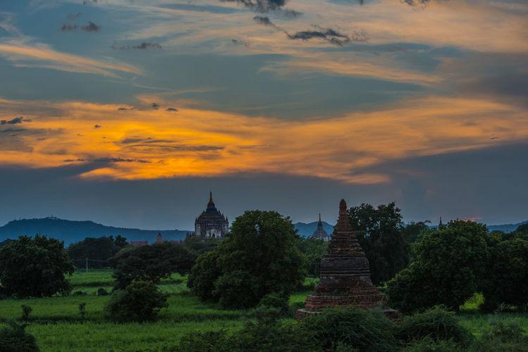 Burma Maynmar Southeastasia Burmese Temple Sunset Pagodas Bagan, Myanmar Myanmar Pagoda