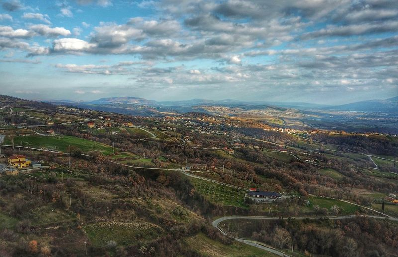 Landscape in Molise, Macchiagodena Aerial Beauty In Nature Tranquility Tranquil Scene Scenics Landscape Cloud - Sky Nature Patchwork Landscape