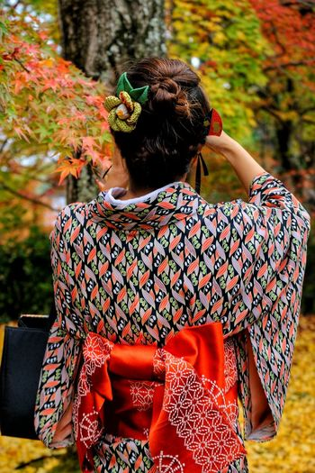 Rear View Of Woman In Traditional Dress Holding Maple Tree At Park