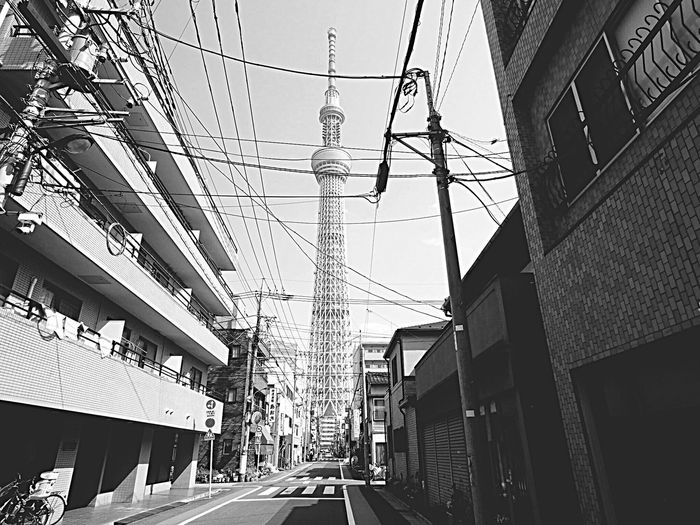 Architecture Building Exterior Built Structure City Transportation Street Street Light Cable Road Tokyoskytree Tokyo Skytree Skytree 東京スカイツリー 白黒 Monochrome Monochrome Photography Scenics Tokyo Landscape Landscape Tokyo,Japan Tokyo Street Photography Low Angle View Tower Olympus Om-d E-m10