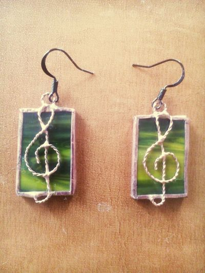 Earrings Stained-glass Music Sign My Collection By My Dear Husband