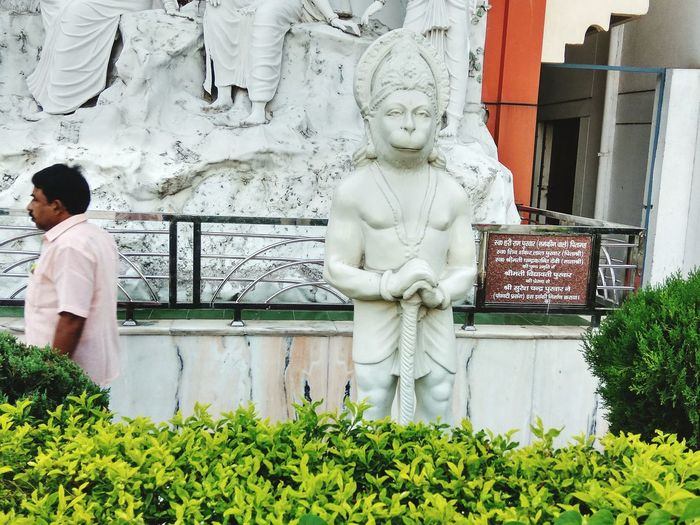 Indian God Statue Of Hanuman Rambagh Allahabad Built Structure Sculpture Only Men Statue Moment Captured