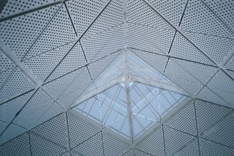 Abstract Airport Architecture Backgrounds Blue Building Built Structure Ceiling Close-up Design Full Frame Geometric Shape Glass - Material Indoors  Low Angle View Modern No People Pattern Shape Simplicity Taipei Transparent Triangle Shape
