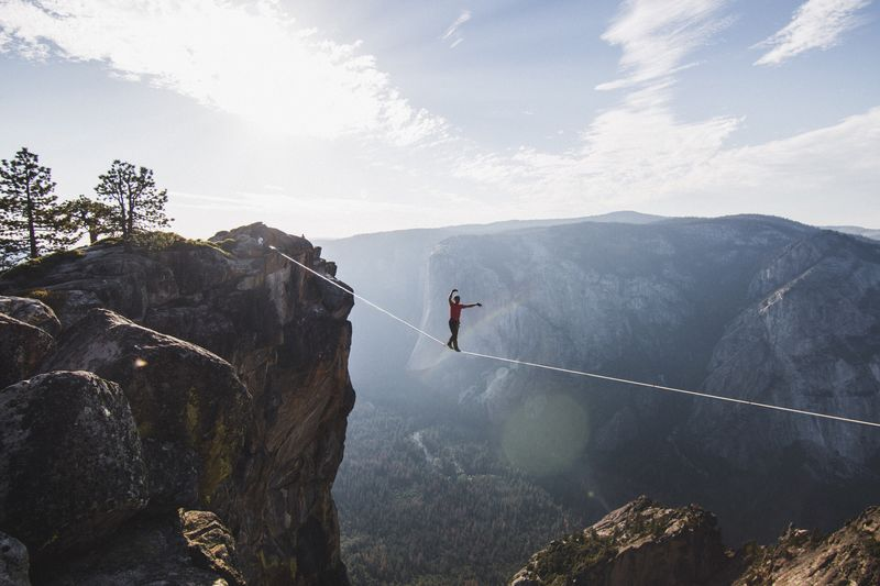 Man Highlining At Yosemite National Park